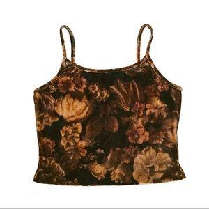 Vintage Forever 21 Brown Floral Velvet Crop Top